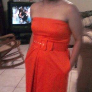 Strapless Orange dress with belt